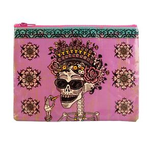 Blue-Q-Day-Of-The-Dead-Sugar-Skull-Pink-Zipped-Storage-Pouch-Case-24cm