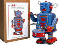 Tin Toy Windup Drummer Robot Marching - Sale - Free Shipping