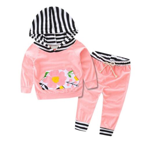 2PCS Toddler Baby Boy Girl Kid Clothes Suit Hooded Tops Shirt+Pants Leggings Set