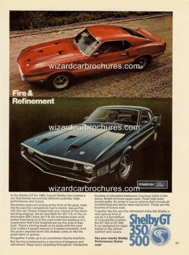 1969 FORD MUSTANG SHELBY GT 350 500 A3 POSTER AD ADVERT SALES BROCHURE SET OF 2