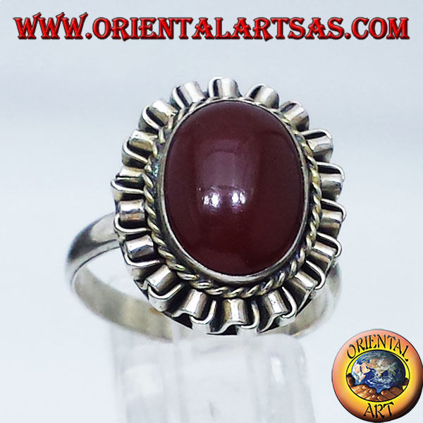 925 silver Ring ‰ mit Karneol Oval Cabochon