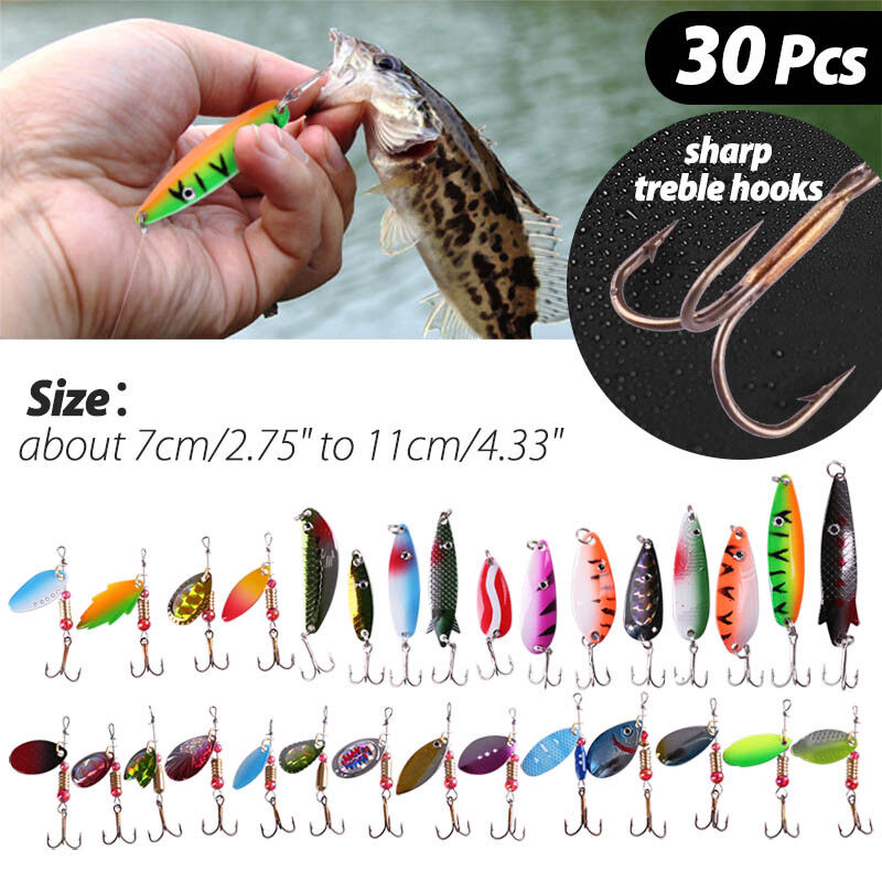 Aneew 16pcs Tackle Kit Spoon Fishing Lures Metal Swivel Spinners Spinnerbait with Bag Salmon Frog Trout for Freshwater Saltwater