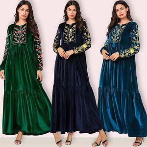 Velvet-Abaya-Women-Muslim-Maxi-Dress-Jilbab-Kaftan-Islamic-Prayer-Dubai-Dresses