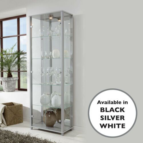 White Black or Silver Double With Adjustable Shelves Glass Display Unit