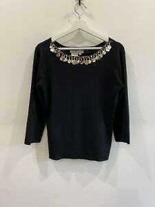 Joseph A Black Top Size XL Shell & Leopard  Decoration Corporate Party Casual