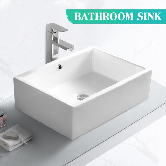 Rectangle Porcelain Ceramic Vessel Sink Basin Bowl W Popup Drain Bathroom