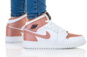 Details zu Nike Air Jordan 1 MID GS Schuhe High Top Freizeit Sneaker white  rose 555112-190
