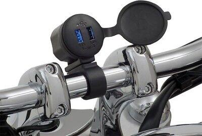 "MOTORCYCLE PHONE CHARGER SHOW CHROME DUAL PORT USB 7/8"" - 1"" HANDLEBAR MOUNT"