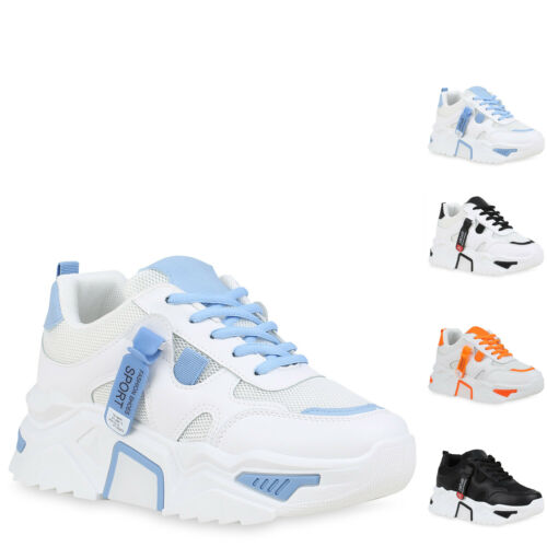 Damen Plateau Sneaker Keilabsatz Prints Schnürer Profilsohle 899925 Hot