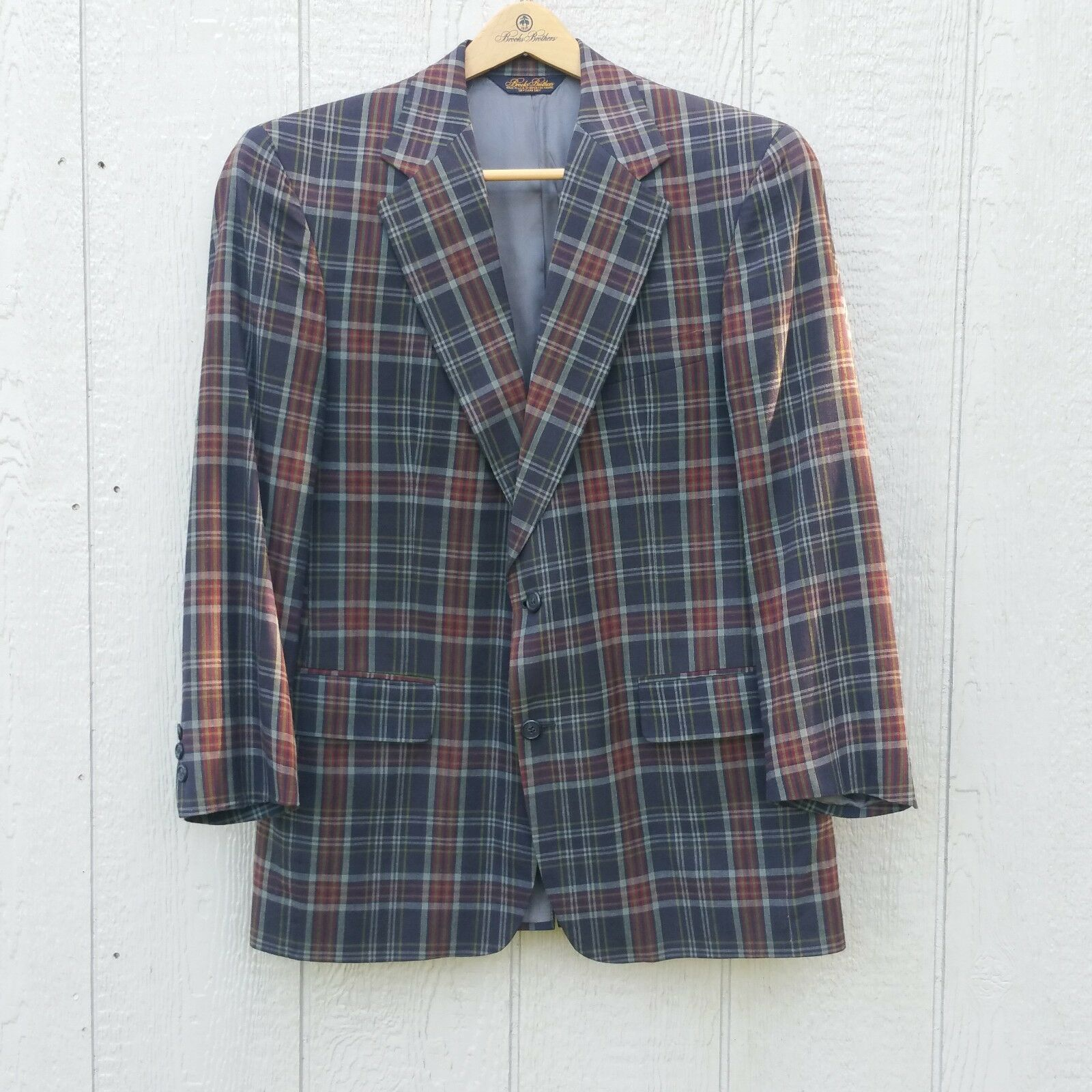 Brooks Bredhers Men's Sport Coat 40 RG Linen Plaid Lined