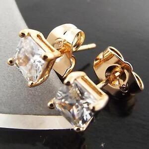 FSA015-GENUINE-18K-ROSE-GOLD-G-F-SOLID-PRINCESS-DIAMOND-SIMULATED-STUD-EARRINGS