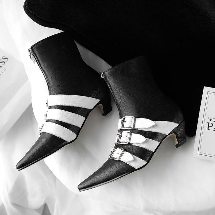 Womens Womens Womens Buckle Zip Sheepskin Kitten Heel Ankle Chelsea Boots Pointed Toe shoes 16cbe4