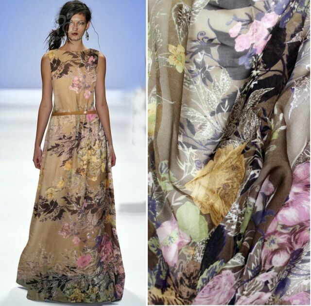 DESIGNER 100% PURE SILK CHIFFON FABRIC WITH FLORAL PRINT 1 METER S043