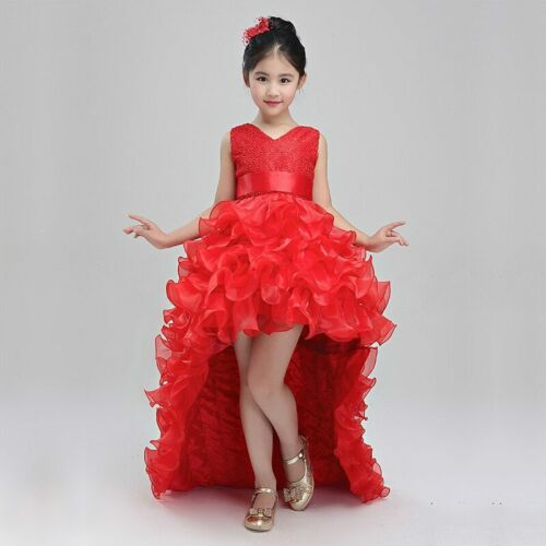 Flower Girl Dress Tailing Sleeveless Princess Wedding Tutu Party Birthday Dress