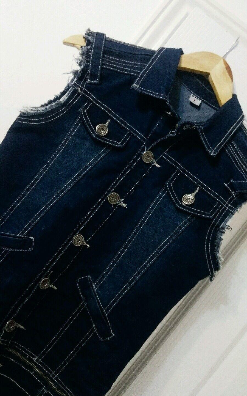Topshop Zara Dark bluee Denim Zip Around Playsuit - Size S