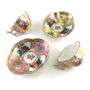 Vintage-Japanese-Hokutosha-Porcelain-Miniature-Dresden-Style-Cup-amp-Saucer-Set