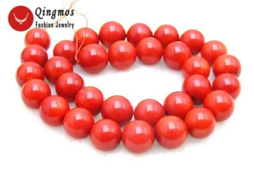 """11-12mm  Red Round Natural Coral Beads for Jewelry Making DIY Loose Strand 15/"""""""