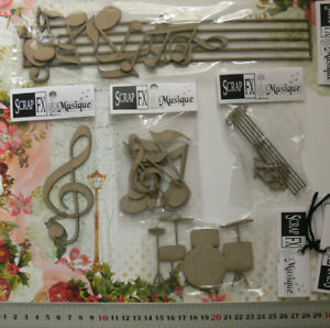 CHIPBOARD-DieCuts-MUSIC-BARS-Treble-CLEF-NOTES-Drums-5-Style-Choice-Scrap-FX-T