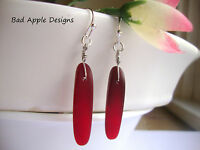 Red Sea Glass Fishbone Dagger Bead Silver Earrings Beach Boho Resort