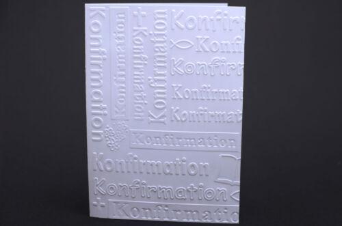 10 Karten weiß geprägt Konfirmation Handarbeit basteln Einladung