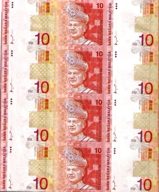 MALAYSIA 10 RINGGIT 1997 *UNCUT SHEET 8 AIR PLANE TRAIN SHIP UNC MONEY BANKNOTE