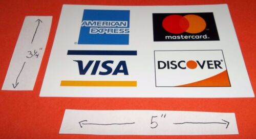 """CREDIT CARD DECAL STICKER Visa MasterCard Discover American Express 5/"""" X 3 1//4/"""""""