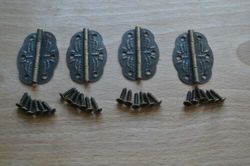 ANTIQUE BRONZE BUTTERFLY EMBOSSED HINGES x 4 PIECES **WITH SCREWS** PKR BH2