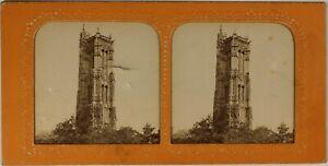 Francia Parigi Torre Smerlata c1865 Foto Stereo Diorama Vintage Albumina