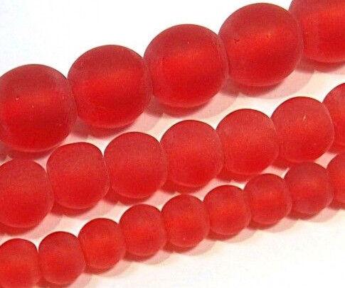 Gefrostete Glasperlen Rot Set Rund 8mm 6mm 4mm 3 Stränge Matt Vereist BEST R97