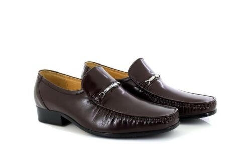 David Sho Finished All Mocassin On Brown Executive Smart Slip Leather Chain Mens BnTqdB