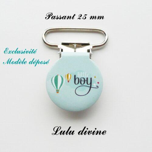 Attache tétine bleue Montgolfière Little boy passant de 25 mm 1 Pince Ronde