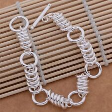 Bracelet Ring Linked T- Bar Chunky Ladies Elegant 925 Sterling Silver Fashion