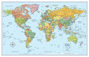 Giant World Map Poster Print Rand McNally Signature Countries Cities ...