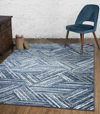 Fast Shipping Stylish Living Room Abstract Luxe Carpets Rugs Blue