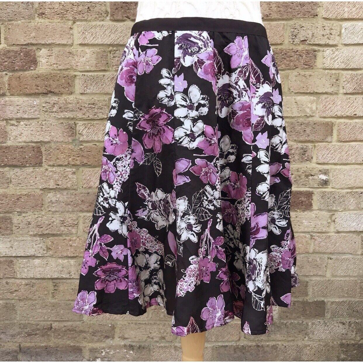 Vintage Hobbs Silk Skirt Brown Floral Print Flared Panelled Lined