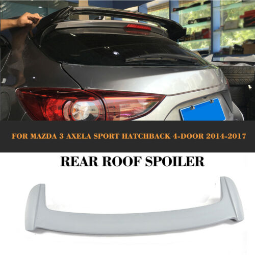 Grey Rear Roof Trunk Spoiler FRP Fit For Mazda 3 Axela Hatchback 4-D 2014-2017