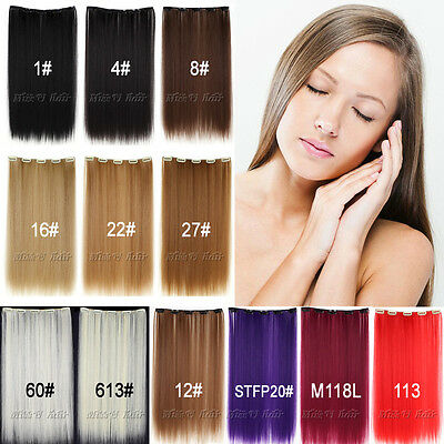 "20""(50cm)50g Long Straight Synthetic Clip in hair extensions hairpiece 12colors"
