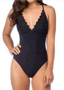 La-Blanca-Cami-Lace-Up-Back-One-Piece-Swimsuit-Bathing-Suit-SZ-10-Black-New