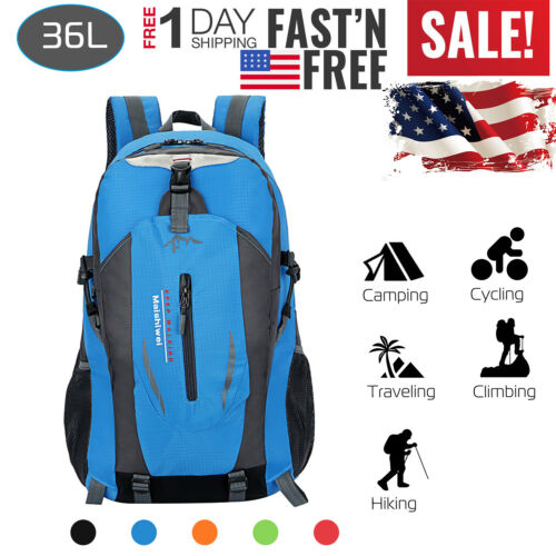 US Travel Hiking Backpack Waterproof Shoulder Bag Pack Outdoor Camping US Stock