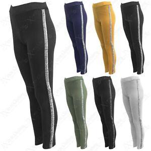 Solid Black Side Glitter Stripe Women/'s Leggings Spandex Leggings Women/'s Clothing Bottoms