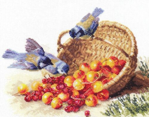 """/""""Chickadees and Cherries/"""" Counted Cross Stitch Kit ALISA 1-14"""