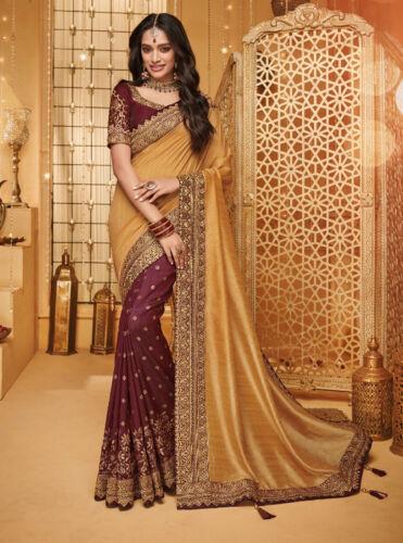 Designer Beige Maroon Heavy Zari Embroidery Bollywood Sari Silk Party Wear Saree