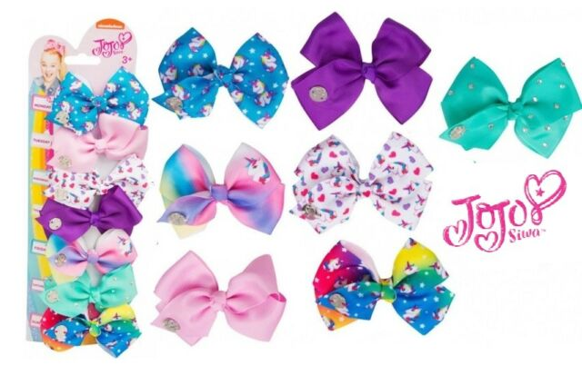 JoJo Siwa 7 Pack Hair Bows Week Printed Girls Fashion Everyday Jo Jo Clip on