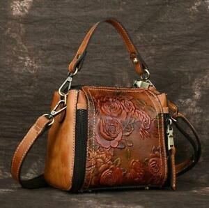 Retro-sz-Vintage-Women-Genuine-Cow-Leather-Shoulder-Bag-Embossed-Handbag-Purse