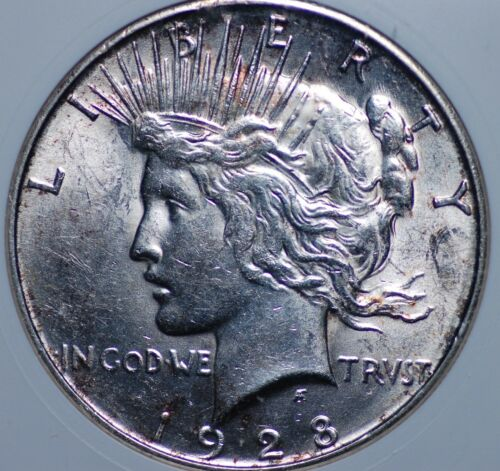 1928 S PEACE DOLLAR OLD SMALL WHITE ANACS MS 61 HARD CHROMEY LUSTER MOSTLY WHITE