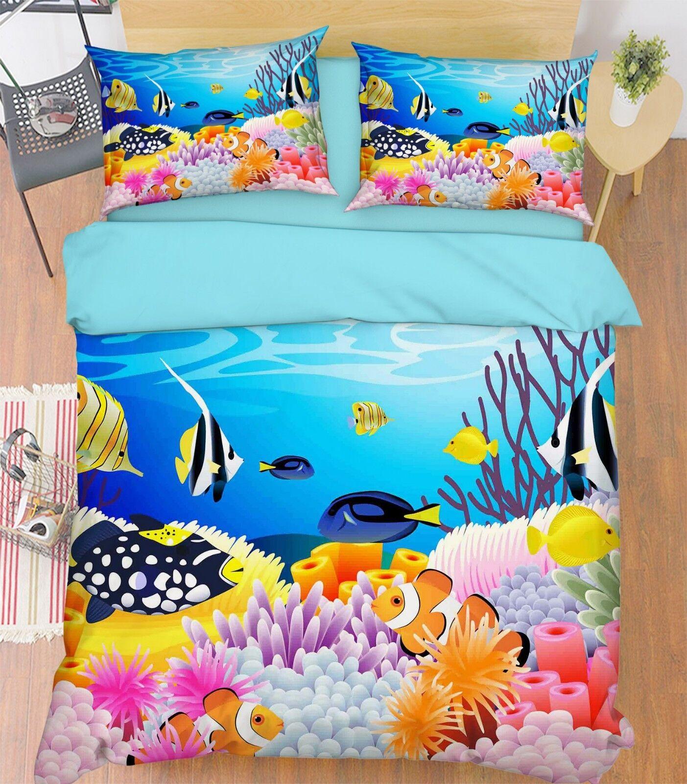 3D Cartoon Coral 16 Bed Pillowcases Quilt Duvet Single Queen King US Summer