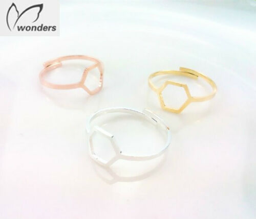 thumb ring Gold,Rose Gold,Silver Adjustable Geometric Hexagon Midi ring Finger