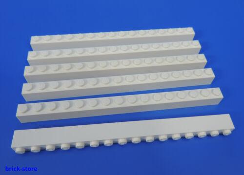 LEGO ® NR 246501 Basic 1x16 motivo blocco predefinito Bianco//6 pezzi