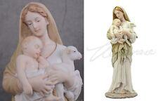 a MARIA, GESU' e AGNELLINO - Statua in polystone dipinta - Altezza 29,5 cm circa