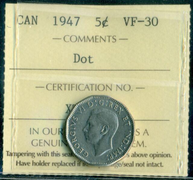 1947 Dot Canada King George VI Five Cent ICCS VF-30  E46